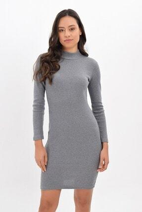 Cotton Mood Kadın Gri Kalın Kaşkorse Yarım Balıkçı Kısa Elbise 94243161