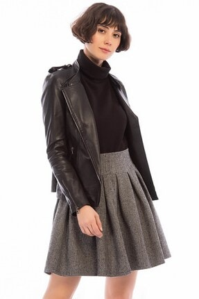 Cotton Mood Kadın Gri Kazayağı Desenli Pileli Fermuarlı Kısa Etek 8505063