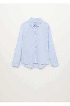 Mango Kız Çocuk Mavi Pamuklu Gömlek