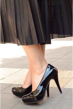 Kadın Siyah Rugan Platform Topuklu Ayakkabı 369