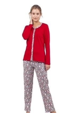 Çift Kaplan 7718 Önden Düğmeli Bayan Pijama Takım (s-5xl)