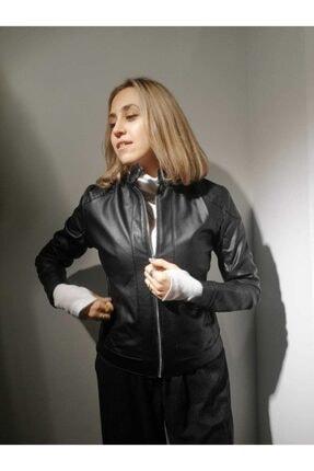 BEBE PLUS Kadın Siyah Suni Deri Ceket