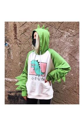 Köstebek Kadın Yeşil Kawaii Dinosaur Kapüşonlu Sweatshirt
