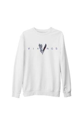 Lord Unisex Beyaz Vikings Logo Kalın Sweatshirt