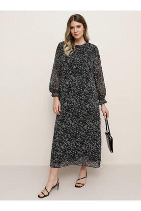 Alia Desenli Şifon Elbise - Siyah -