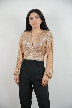 Lila Rose Kadın Bej Kruvaze Yaka Payetli Kol Detaylı Bluz