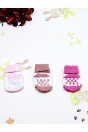 Minidamla Yenidoğan Kız Erkek Bebek Altı Kaydırmaz 3'lü Çorap Set