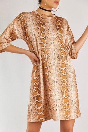 Boutiquen Kadın Taba Yılan Görünüm Desenli Elbise 2079
