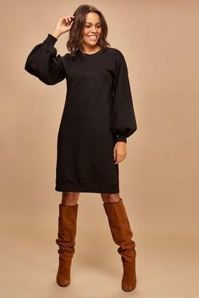 Boutiquen Kadın Siyah Balon Kol Uzun Elbise 2188
