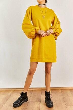 Boutiquen Kadın Hardal Balon Kol Elbise 2188
