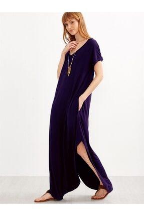 Boutiquen Kadın Lacivert Yanları Yırtmaçlı Uzun Salaş Cepli Elbise 2233