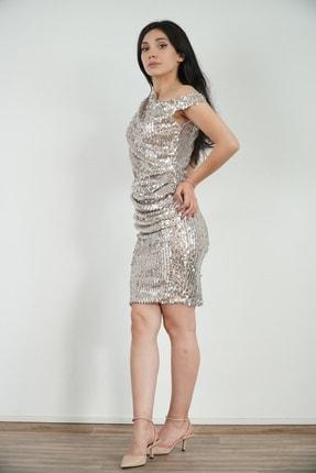 Lila Rose Kadın Gümüş Pullu Dökümlü Elbise 21klrel3104