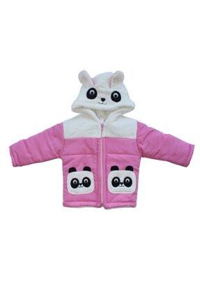 bebegen Pandalı Pembe Beyaz Tüylü Kız Bebek Mont