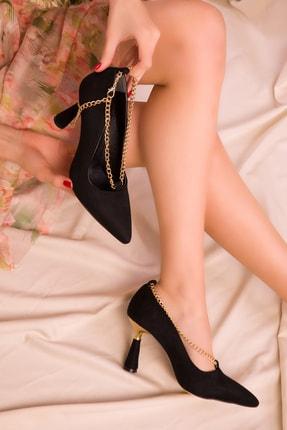 SOHO Siyah Süet Kadın Klasik Topuklu Ayakkabı 15692