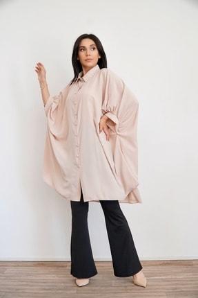 Lila Rose Kadın Pudra Yakası Taşlı Tunik Bluz