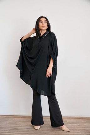 Lila Rose Kadın Siyah Yakası Taşlı Tunik Bluz