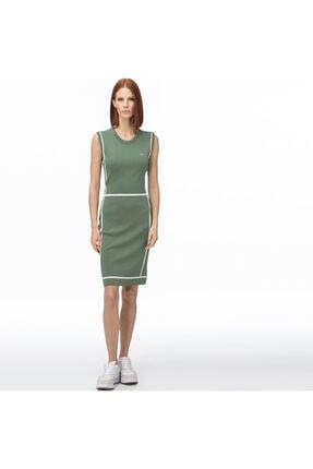 Lacoste Kadın Haki V Yaka Kolsuz Elbise