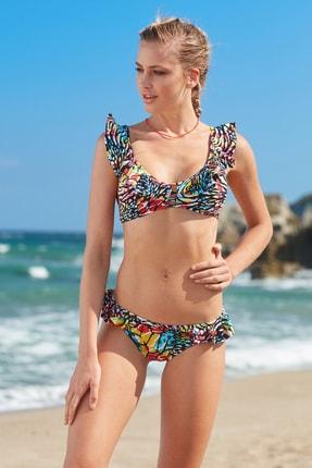 No Gossip Kadın Mavi Fırfır Detaylı Üçgen Bikini Tek Üst 209104-d Butterfly