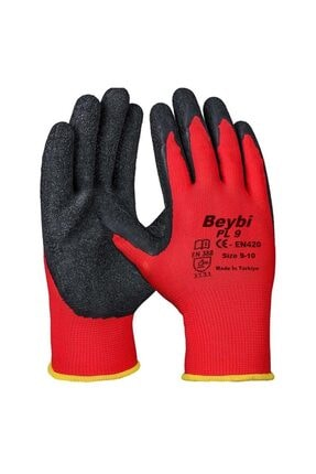Pl9 Polyester Örme Eldiven Kırmızı Siyah No:9 100 10 501
