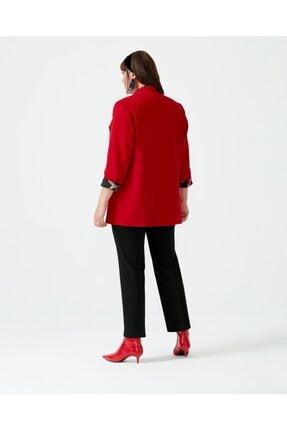 Seçil Kadın Kırmızı Galaxı Büyük Beden Fileto Cepli Ceket