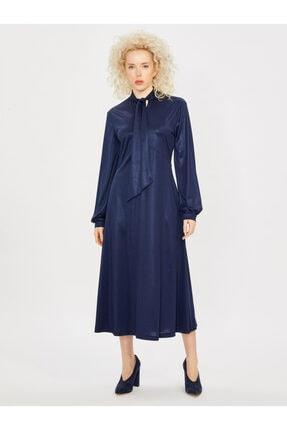 Vekem Kadın Saks Yakası Bağlamalı Uzun Kol Maksi Elbise
