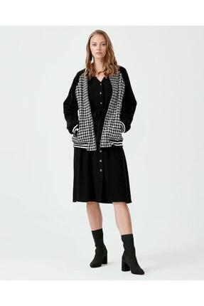 Seçil Kadın Siyah Kazayağı Desenli Önden Fermuarlı Ceket