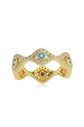 Valori Jewels Mini Nazar Gözü, Swarovski Zirkon Mavi Ve Beyaz Taşlı, Altın Rengi Gümüş Tamtur Yüzük