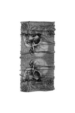 Köstebek Unisex Siyah Double Skull Saç Bandı