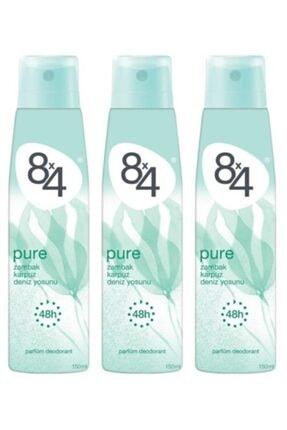 8x4 Kadın Pure Deodorant 150 ml X3
