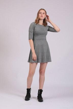 Hanna's Kadın Gri Ekoseli Kloş Örme Elbise