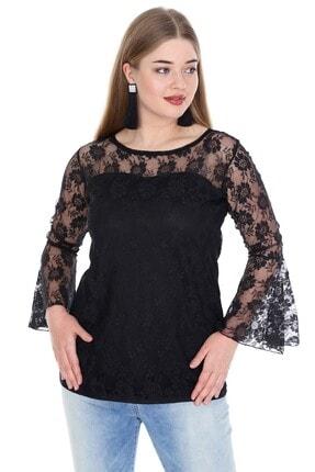 ANGELINO Kadın Siyah Kolları Volanlı Abiye Bluz PNR1435