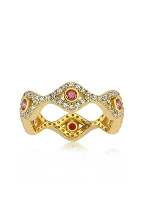 Valori Jewels Mini Nazar Gözü, Swarovski Zirkon Kırmızı Ve Beyaz Taşlı, Altın Rengi Gümüş Tamtur Yüzük