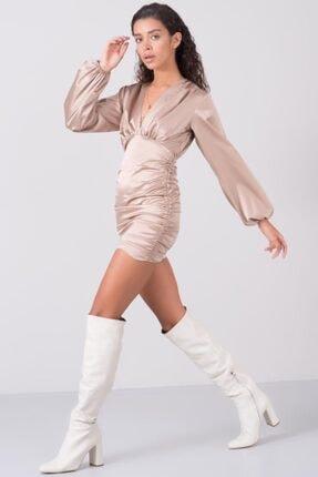 Bsl Kadın Vizon V Yaka Balon Kol Detaylı Mini Elbise