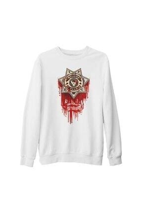 Lord Unisex Beyaz The Walking Dead  Sheriff Kalın Sweatshirt