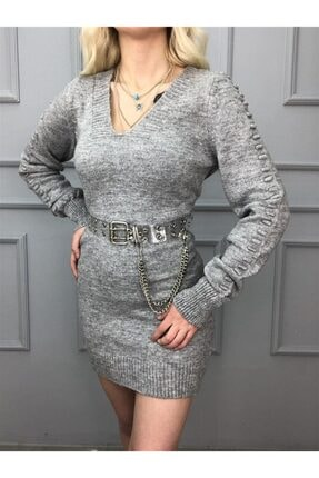 Kadın Gri  V Yaka Kolu Pompon Detaylı Elbise NİS1345GRSTD