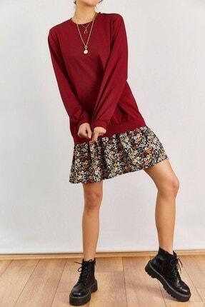 Boutiquen Kadın Bordo Altı Çiçek Desenli Elbise 2208