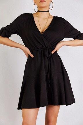 Boutiquen Kadın Siyah Kısa Kollu Kruvaze Elbise 12227
