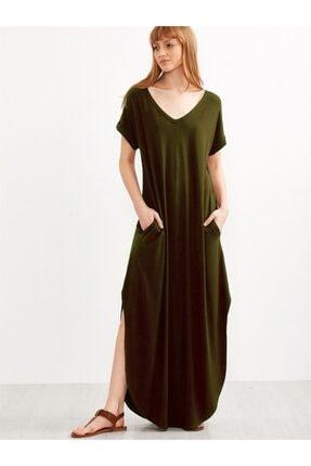 Boutiquen Kadın Haki Yeşili Yanları Yırtmaçlı Uzun Salaş Cepli Elbise 2233