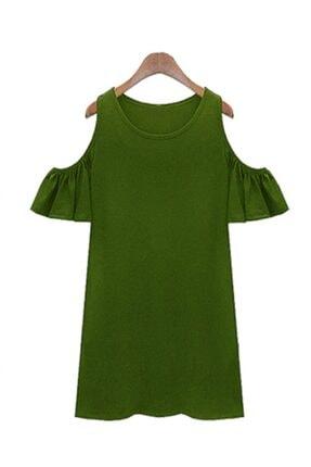 Boutiquen Kadın Haki Omzu Açık Elbise 2231