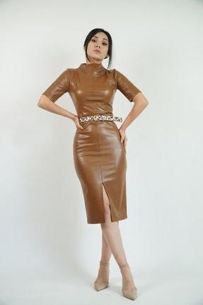 Lila Rose Kadın Taba Suni Deri Yırtmaçlı Midi Elbise