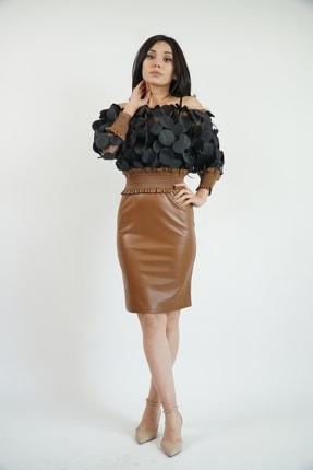 Lila Rose Kadın Taba Siyah  3 Boyutlu Suni Deri Elbise