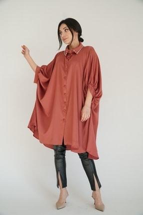 Lila Rose Kadın Tarçın Yakası Taşlı Tunik Bluz
