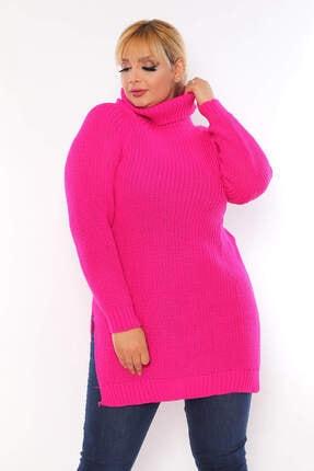 ANGELINO Kadın Pembe Yırtmaç Detay Akrilik Boğazlı Bol Triko Kazak T111897