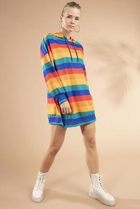 Y-London Kadın Renk Bloklu Kapşonlu Sweatshirt Elbise Y20w110-4125-10