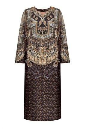 Faberlic Kadın Kahverengi Yarım Kollu Desenli Elbise