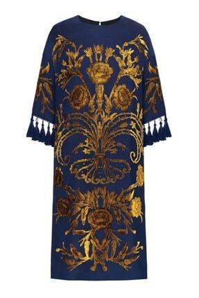 Faberlic Kadın Lacivert Yarım Kollu İpek Püsküllü Elbise