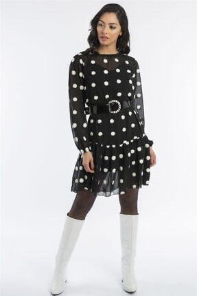 Hadise Kadın Siyah İçi Astarlı Kemerli Elbise 0149