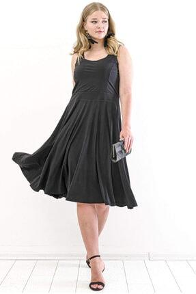 ANGELINO Kadın Siyah Askılı Düz Elbise PNR7070  T109992