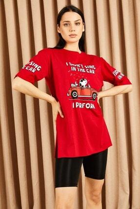 Hadise I Dont Sing Baskılı Boyfriend Tshirt Kırmızı
