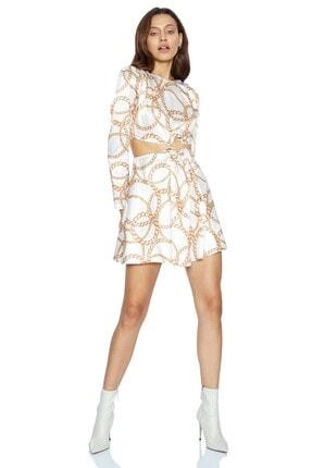 Keikei Kadın Beyaz Desenv36 Saten Uzun Kol Kısa Elbise
